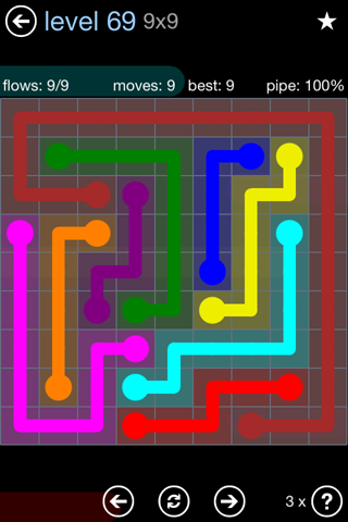 Solution and Answer to the Puzzle for Flow Rainbow Pack Set 5x5 Level 69