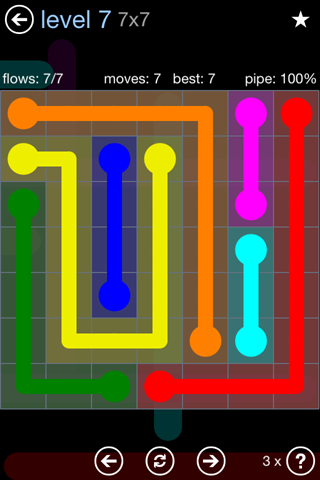 Solution and Answer to the Puzzle for Flow Rainbow Pack Set 5x5 Level 7
