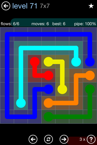 Solution and Answer to the Puzzle for Flow Rainbow Pack Set 5x5 Level 71