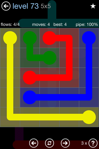 Solution and Answer to the Puzzle for Flow Rainbow Pack Set 5x5 Level 73