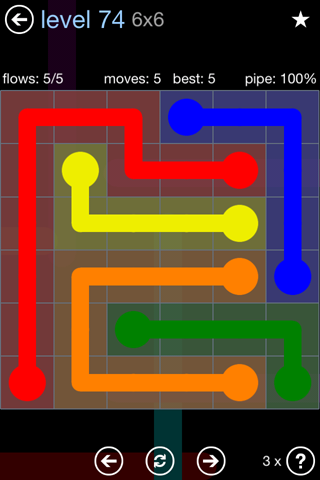 Solution and Answer to the Puzzle for Flow Rainbow Pack Set 5x5 Level 74