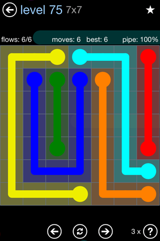 Solution and Answer to the Puzzle for Flow Rainbow Pack Set 5x5 Level 75
