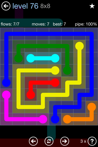 Solution and Answer to the Puzzle for Flow Rainbow Pack Set 5x5 Level 76