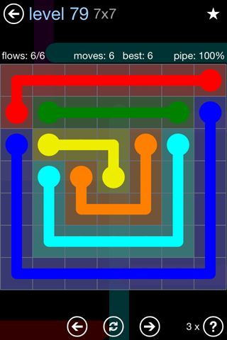 Solution and Answer to the Puzzle for Flow Rainbow Pack Set 5x5 Level 79