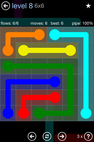 Solution and Answer to the Puzzle for Flow Rainbow Pack Set 5x5 Level 8