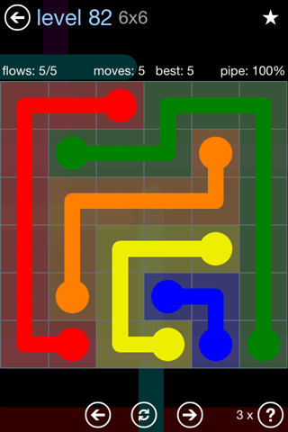 Solution and Answer to the Puzzle for Flow Rainbow Pack Set 5x5 Level 82