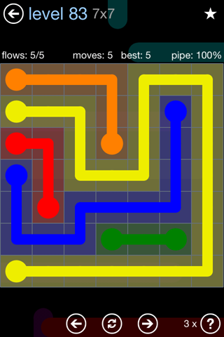 Solution and Answer to the Puzzle for Flow Rainbow Pack Set 5x5 Level 83