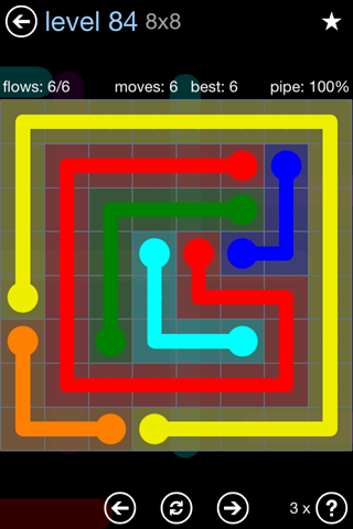Solution and Answer to the Puzzle for Flow Rainbow Pack Set 5x5 Level 84