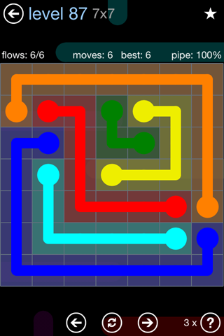 Solution and Answer to the Puzzle for Flow Rainbow Pack Set 5x5 Level 87