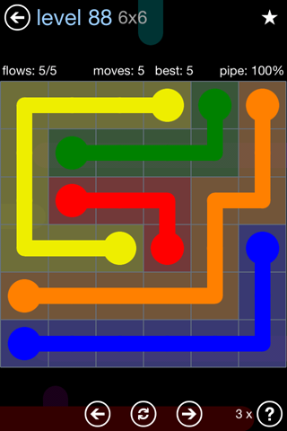 Solution and Answer to the Puzzle for Flow Rainbow Pack Set 5x5 Level 88