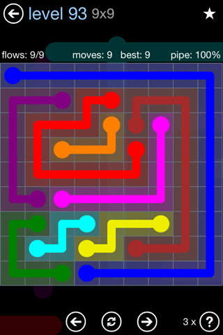 Solution and Answer to the Puzzle for Flow Rainbow Pack Set 5x5 Level 93
