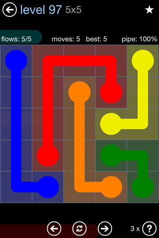 Solution and Answer to the Puzzle for Flow Rainbow Pack Set 5x5 Level 97