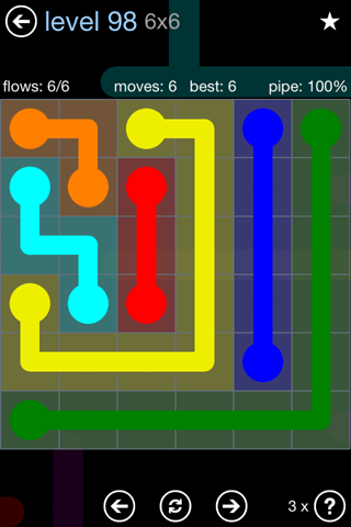 Solution and Answer to the Puzzle for Flow Rainbow Pack Set 5x5 Level 98