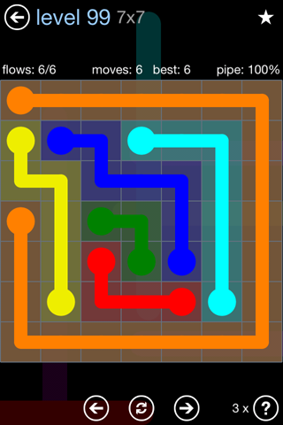 Solution and Answer to the Puzzle for Flow Rainbow Pack Set 5x5 Level 99