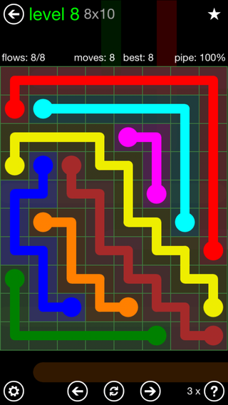 Solution and Answer to the Puzzle for Flow Rectangle Pack Set 8x8 Level 8