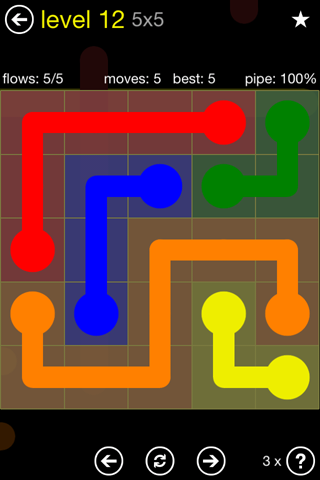 Solution and Answer to the Puzzle for Flow Regular Pack Set 5x5 Level 12