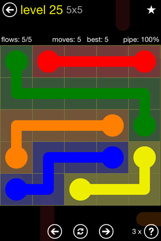 Solution and Answer to the Puzzle for Flow Regular Pack Set 5x5 Level 25