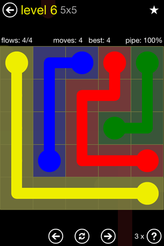 Solution and Answer to the Puzzle for Flow Regular Pack Set 5x5 Level 6