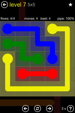 Solution and Answer to the Puzzle for Flow Regular Pack Set 5x5 Level 7