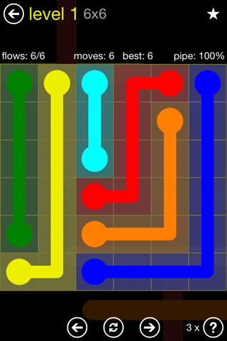 Solution and Answer to the Puzzle for Flow Regular Pack Set 6x6 Level 1