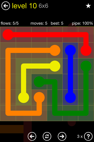 Solution and Answer to the Puzzle for Flow Regular Pack Set 6x6 Level 10