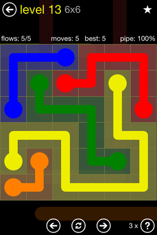 Solution and Answer to the Puzzle for Flow Regular Pack Set 6x6 Level 13