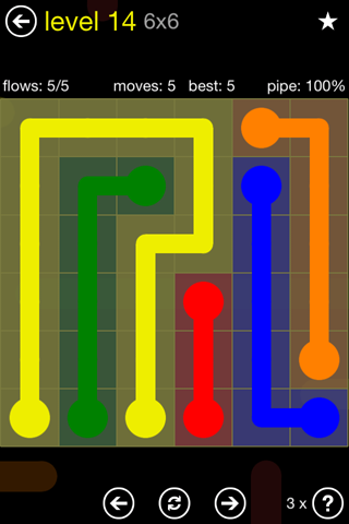 Solution and Answer to the Puzzle for Flow Regular Pack Set 6x6 Level 14