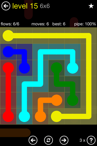 Solution and Answer to the Puzzle for Flow Regular Pack Set 6x6 Level 15