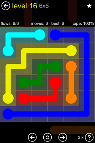 Solution and Answer to the Puzzle for Flow Regular Pack Set 6x6 Level 16