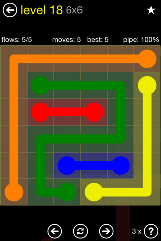 Solution and Answer to the Puzzle for Flow Regular Pack Set 6x6 Level 18