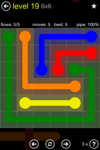 Solution and Answer to the Puzzle for Flow Regular Pack Set 6x6 Level 19