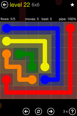 Solution and Answer to the Puzzle for Flow Regular Pack Set 6x6 Level 22