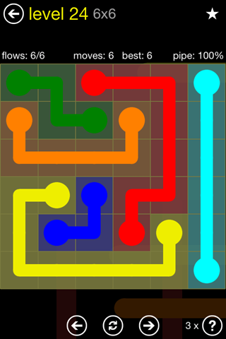 Solution and Answer to the Puzzle for Flow Regular Pack Set 6x6 Level 24