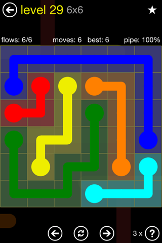 Solution and Answer to the Puzzle for Flow Regular Pack Set 6x6 Level 29