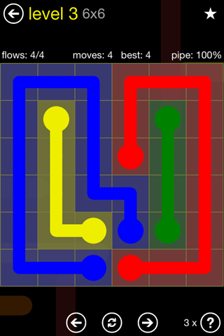 Solution and Answer to the Puzzle for Flow Regular Pack Set 6x6 Level 3