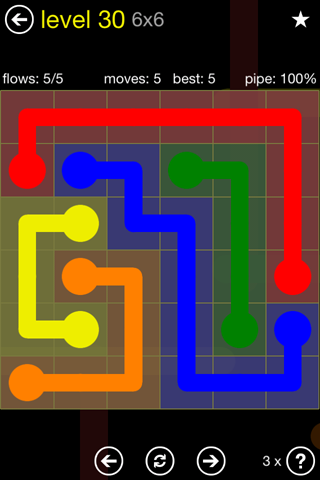 Solution and Answer to the Puzzle for Flow Regular Pack Set 6x6 Level 30