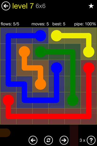 Solution and Answer to the Puzzle for Flow Regular Pack Set 6x6 Level 7