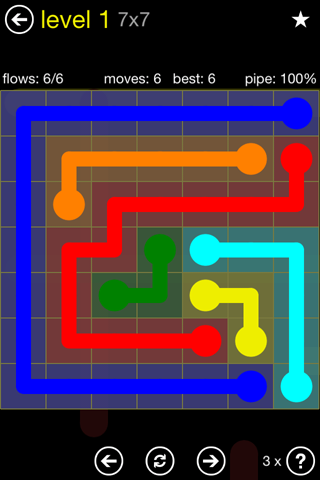 Solution and Answer to the Puzzle for Flow Regular Pack Set 7x7 Level 1