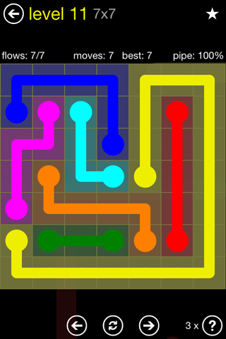 Solution and Answer to the Puzzle for Flow Regular Pack Set 7x7 Level 11
