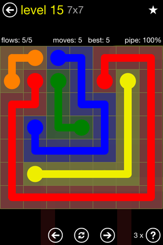 Solution and Answer to the Puzzle for Flow Regular Pack Set 7x7 Level 15