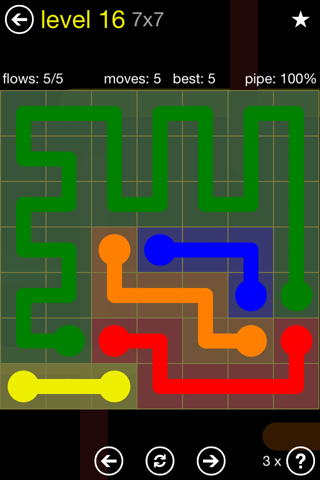 Solution and Answer to the Puzzle for Flow Regular Pack Set 7x7 Level 16