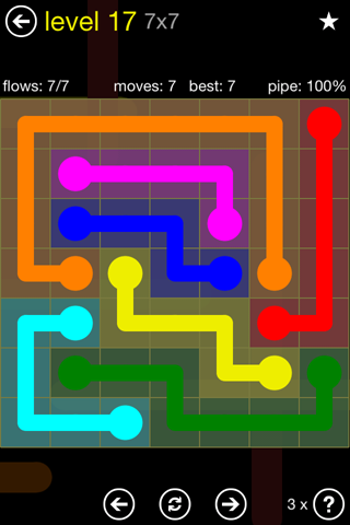 Solution and Answer to the Puzzle for Flow Regular Pack Set 7x7 Level 17