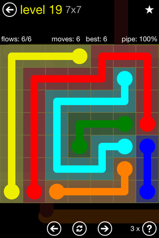 Solution and Answer to the Puzzle for Flow Regular Pack Set 7x7 Level 19