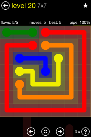 Solution and Answer to the Puzzle for Flow Regular Pack Set 7x7 Level 20