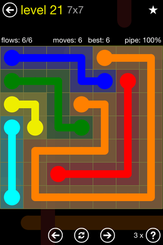 Solution and Answer to the Puzzle for Flow Regular Pack Set 7x7 Level 21