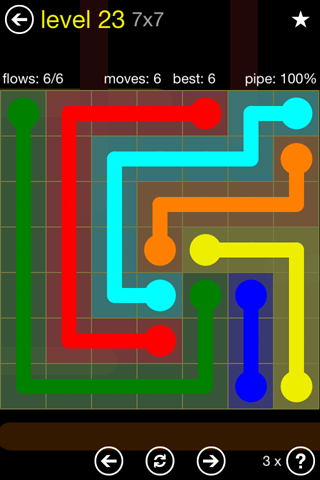 Solution and Answer to the Puzzle for Flow Regular Pack Set 7x7 Level 23