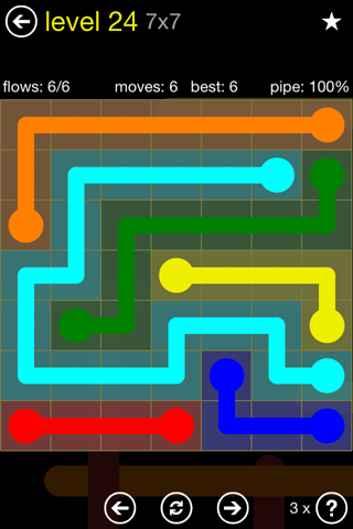 Solution and Answer to the Puzzle for Flow Regular Pack Set 7x7 Level 24