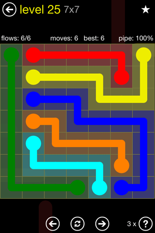 Solution and Answer to the Puzzle for Flow Regular Pack Set 7x7 Level 25