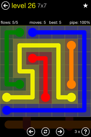 Solution and Answer to the Puzzle for Flow Regular Pack Set 7x7 Level 26