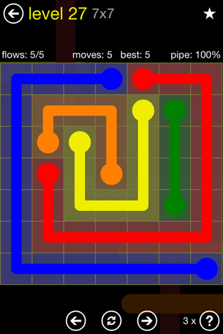 Solution and Answer to the Puzzle for Flow Regular Pack Set 7x7 Level 27
